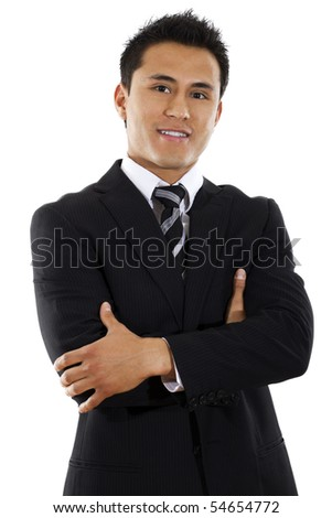 Stock image of hispanic businessman standing with arms crossed over white background - stock photo