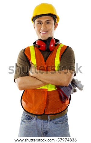 Stock image of male construction worker over white background - stock photo
