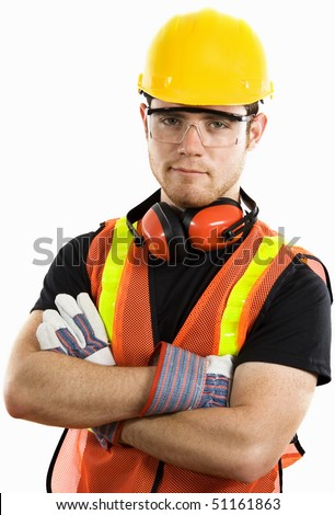 Stock image of male construction worker wearing full protective gear