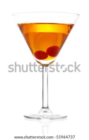 Stock image of Manhattan cocktail on martini glass with Maraschino Cherries over white background - stock photo