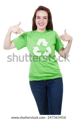 Stock image of responsible recycling teen isolated on white background - stock photo