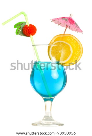Stock image of Tequila Sunrise cocktail over white background - stock photo
