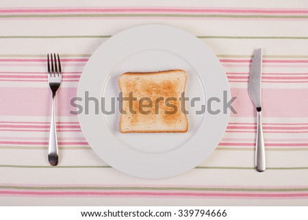 stock image of toast on white plate. diet concept - stock photo