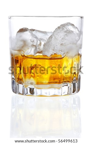 Stock image of Whiskey on the rocks over white background. Find more cocktail and drinks images on my portfolio. - stock photo