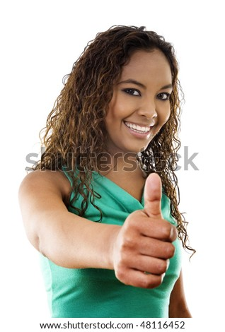 Stock image of woman standing with thumbs up, over white background - stock photo