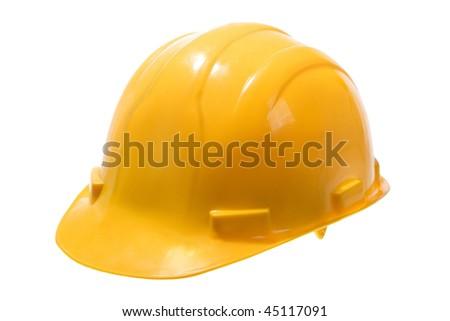 Stock image of yellow hard hat isolated on white - stock photo