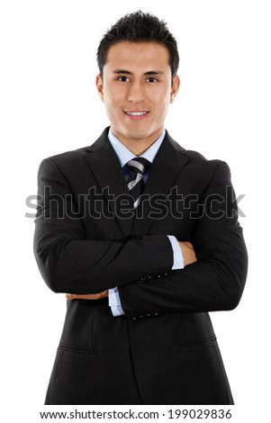 Stock image of young Hispanic businessman isolated on white background