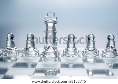 stock images of transparent glass chess - stock photo