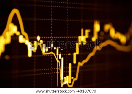 Stock index dynamics on the monitor. - stock photo