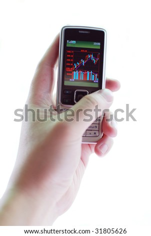 stock K line chart displayed in cell phone screen - stock photo