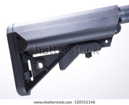 Stock made out of polymer that is adjustable for an assault rifle - stock photo