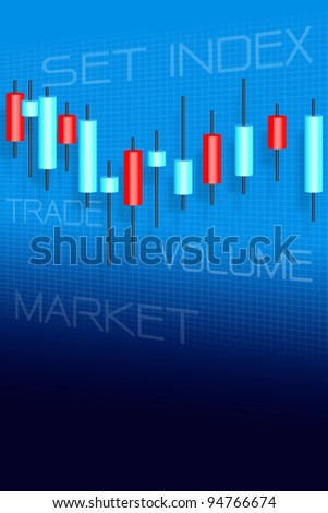 Stock market and candle sticks graph - stock photo