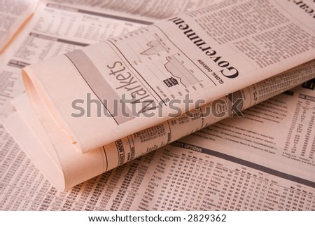 Stock market and financial newspaper close up - stock photo