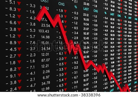 stock market board with a graph chart - stock photo