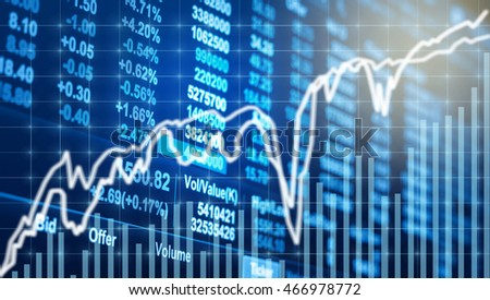 Stock market chart,Closeup Stock market exchange data on LED display, business trading concept