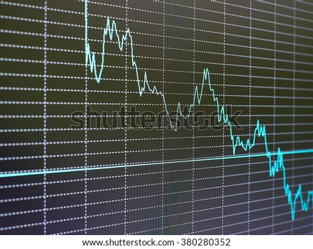 Stock market chart, graph on black background.  Financial diagram with candlestick chart used in market analysis for variation report of share price. Forex. - stock photo