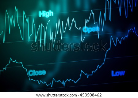 Stock Market Chart in Blue - stock photo