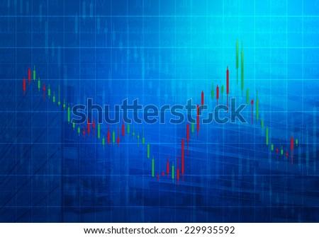Stock market chart on dark blue background - stock photo