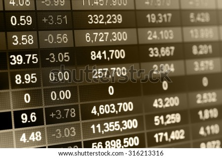 Stock market chart,Stock market data on LED display concept - stock photo