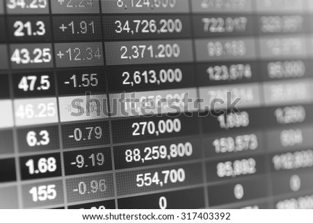 Stock market chart,Stock market data on LED display concept.Black and white photography.