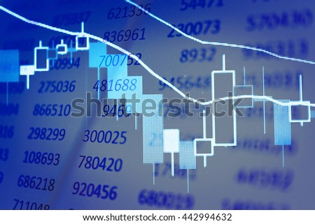Stock market chart,Stock market data on LED display concept. Stock market price on digital display. Stock Market with Up and Down trend. Stock Market Prices. Candle stick stock market tracking graph. - stock photo