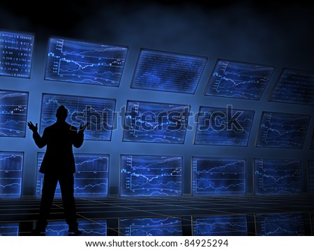 Stock Market Charts on Televisions - stock photo