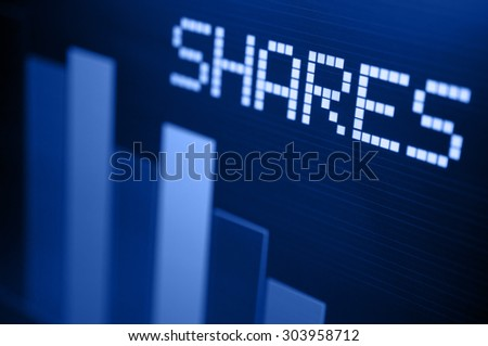 Stock Market - Column Going Down on Blue Display - stock photo