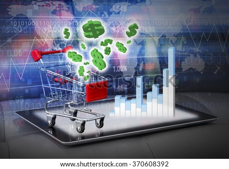 Stock market concepts of digital tablet and shopping cart design with dollar sign - stock photo