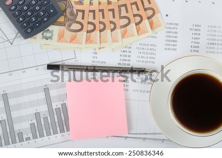 Stock market, finances, business and money concept - calculator, pen, cup of black coffee and 50 euro banknotes over stock quotes and charts with pink sticker space for text message - stock photo