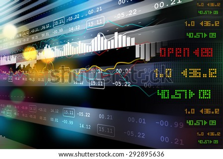 Stock market graph analysis - stock photo