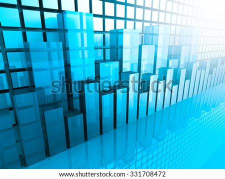 Stock Market Graph and Bar Chart. Business Background. 3d Render Illustration - stock photo