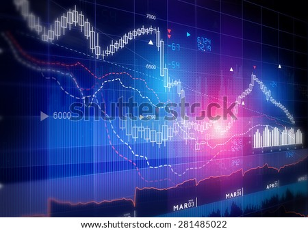 Stock Market Graph -  Candle stick stock market tracking graph. - stock photo