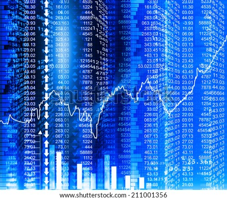 Stock market  Graph on abstract blue background