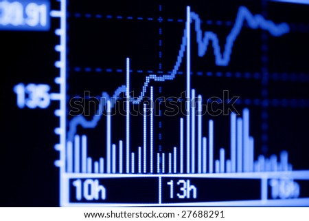 Stock market graphs on the computer monitor. - stock photo