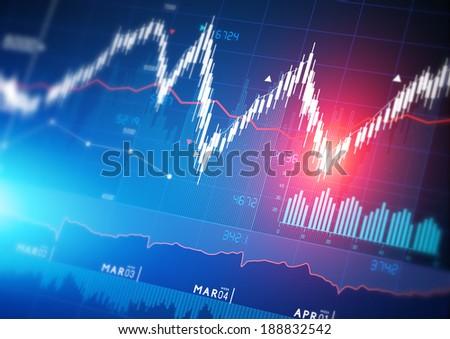 Stock market index graphs background. - stock photo