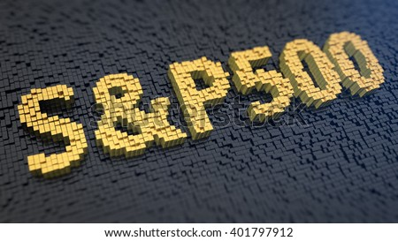 Stock market index. Word S&P500 of the yellow square pixels on a black matrix background. 3D illustration image - stock photo