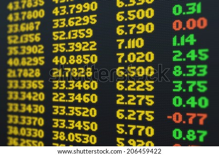 Stock market news and quotes on screen - stock photo