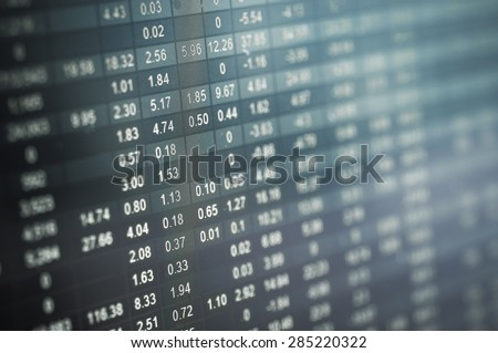 Stock market number on screen display - stock photo