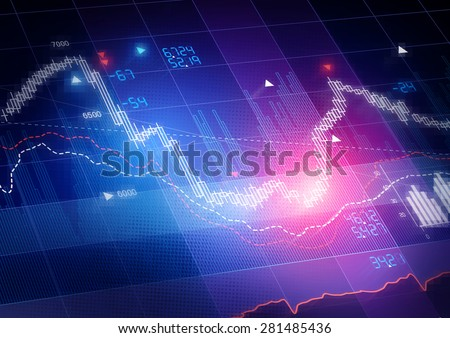 Stock Market Prices. Candle stick stock market tracking graph. - stock photo