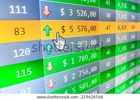 Stock market quotes. Improvement of profit. Stock market. Display of Stock market quotes. Stock market discussion. Business partnership and cooperation. Computer screen live display. Data analyzing.   - stock photo