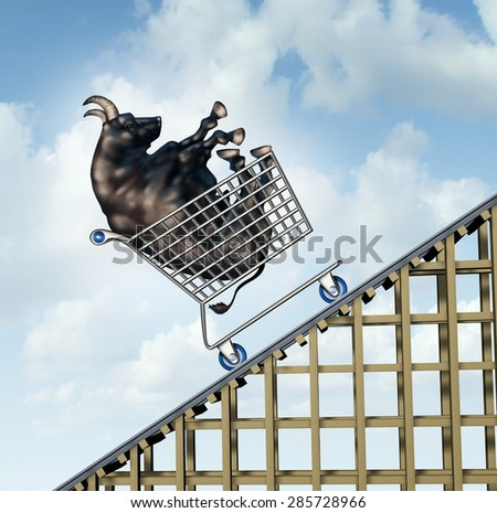 Stock market rise financial success concept as a bull in a shopping cart going up on a roller coaster structure as an investment metaphor and symbol for positive and aggressive sentiment. - stock photo