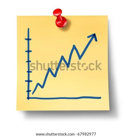 stock market rise profits chart gain office note isolated - stock photo