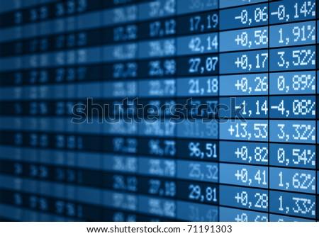 Stock market tableau électronique avec un filtre bleu - stock photo