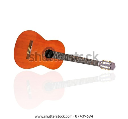 Stock Photo: Acoustic guitar isolated on a white background