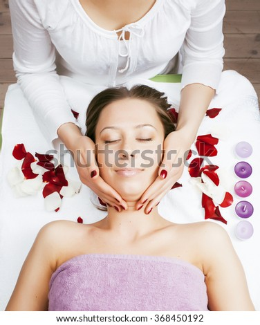 stock photo attractive lady getting spa treatment in salon, massage doctor smiling care pretty - stock photo