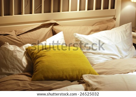 stock photo:bed in a mess - stock photo