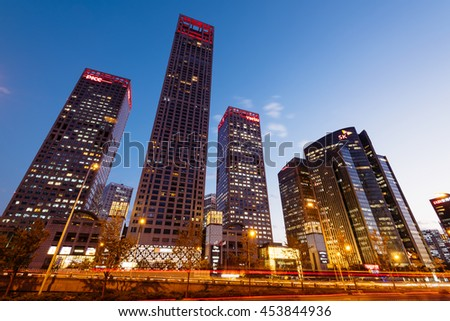Stock Photo - Beijing, China - October 27, 2015: High rise office buildings at the Central Business District in Beijing, China.  - stock photo
