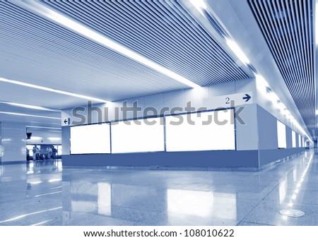 Stock Photo: Blank billboard in metro station - stock photo