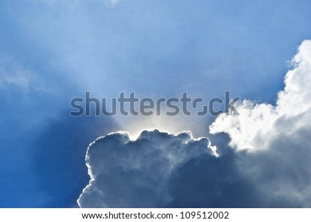 Stock Photo: blue sky with sun and beautiful clouds - stock photo