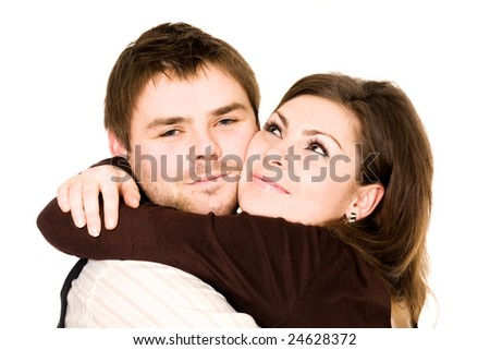 Stock photo: love theme: a portrait of a happy couple embracing